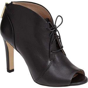 Black leather peep toe bootie 7.5
